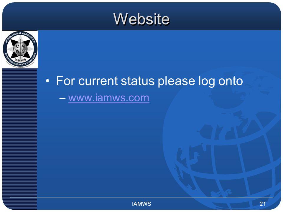 Website For current status please log onto –www.iamws.comwww.iamws.com IAMWS21