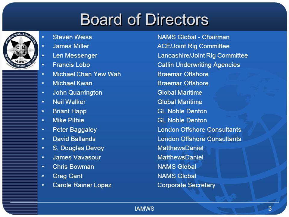 Board of Directors Steven WeissNAMS Global - Chairman James MillerACE/Joint Rig Committee Len MessengerLancashire/Joint Rig Committee Francis LoboCatl