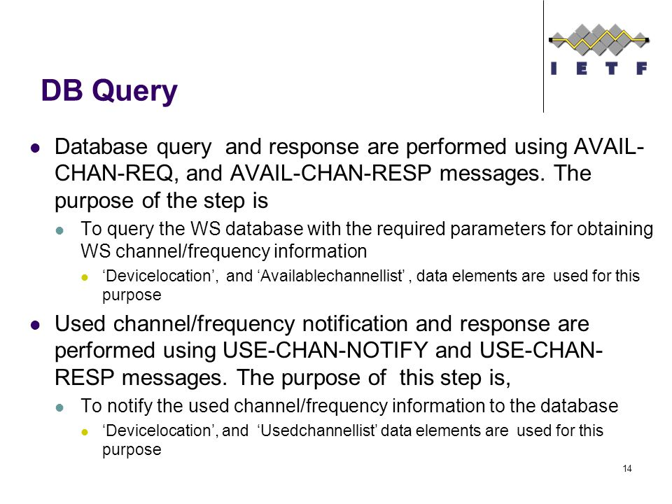 DB Query Database query and response are performed using AVAIL- CHAN-REQ, and AVAIL-CHAN-RESP messages.