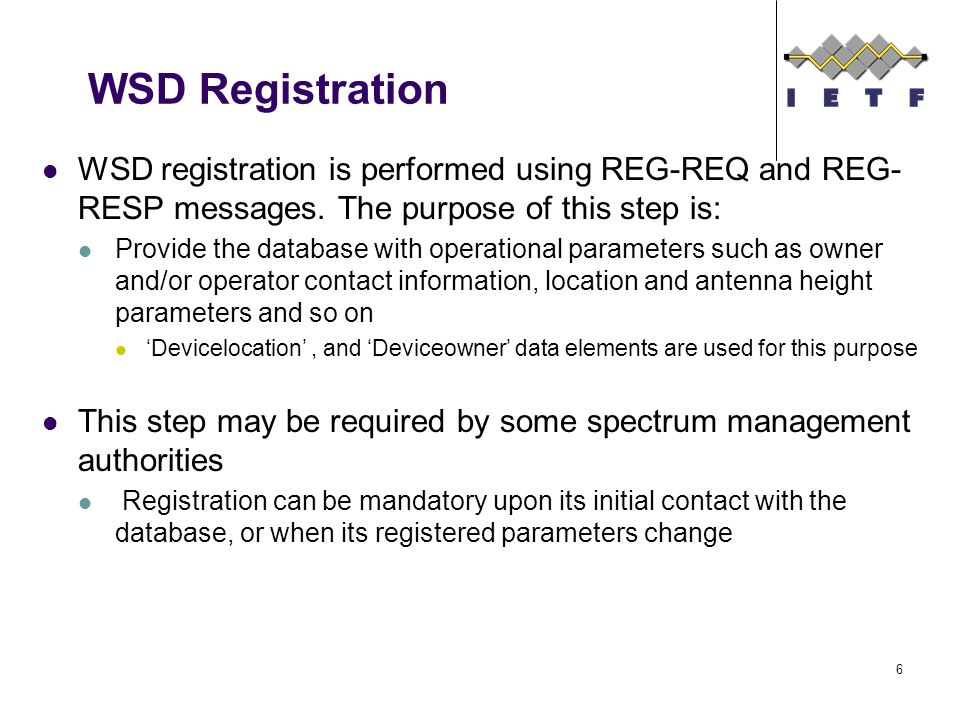 WSD Registration WSD registration is performed using REG-REQ and REG- RESP messages.