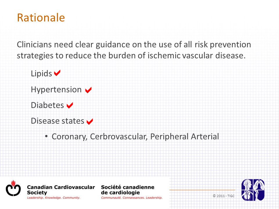 Rationale Clinicians need clear guidance on the use of all risk prevention strategies to reduce the burden of ischemic vascular disease.
