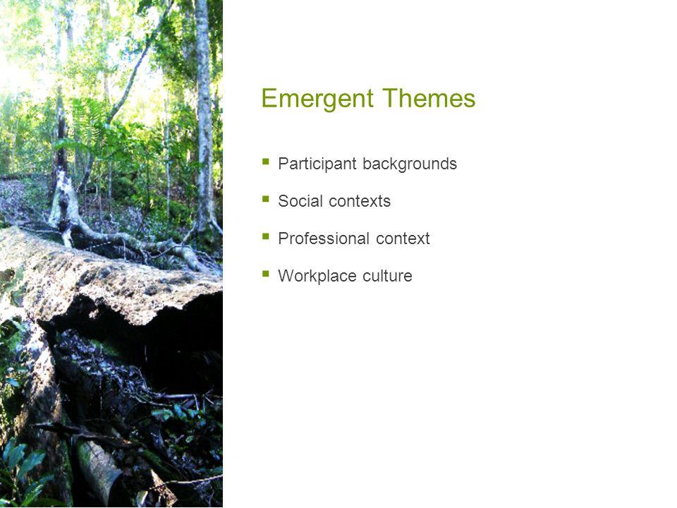 Emergent Themes  Participant backgrounds  Social contexts  Professional context  Workplace culture