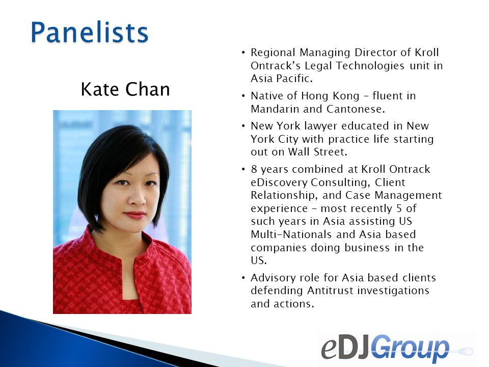 Kate Chan Regional Managing Director of Kroll Ontrack's Legal Technologies unit in Asia Pacific.