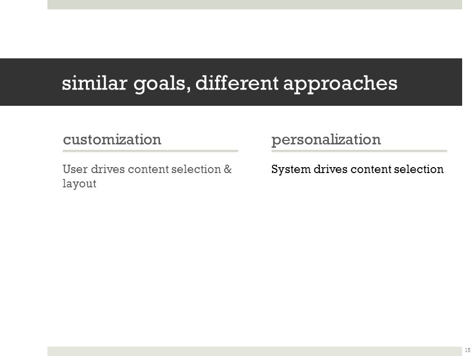 similar goals, different approaches customization User drives content selection & layout personalization System drives content selection 15