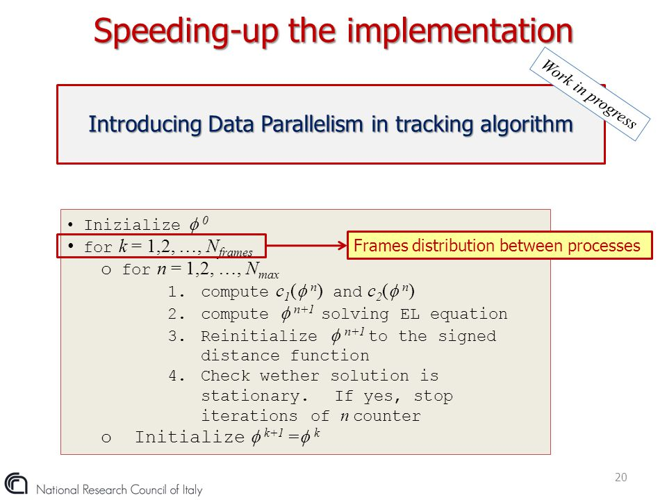 Speeding-up the implementation 20 Introducing Data Parallelism in tracking algorithm Work in progress Inizialize  0 for k = 1,2, …, N frames o for n
