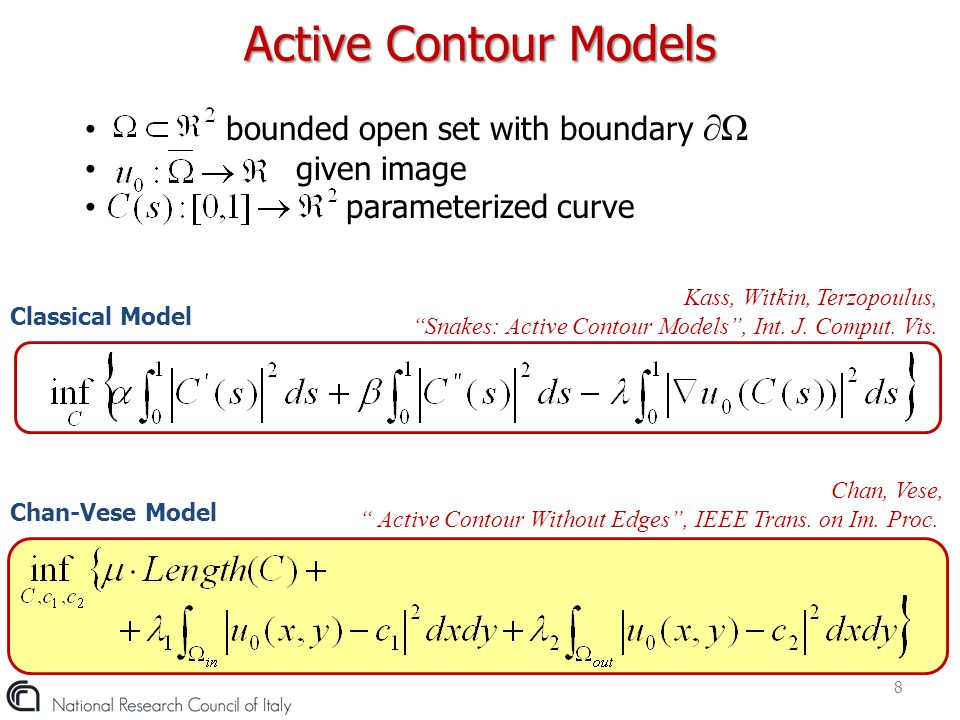 The paramaterized curve C  Ω is represented by the zero level set of a Lipschtz function  :   AC Chan-Vese Level Set Formulation 9 Sethian, Level Set Methods and Fast Marching Methods Keeping  fixed, we can compute c 1 and c 2 as function of 