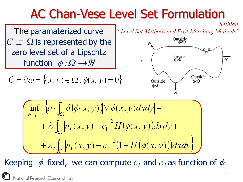 "The paramaterized curve C  Ω is represented by the zero level set of a Lipschtz function  :   AC Chan-Vese Level Set Formulation 9 Sethian, "" Lev"