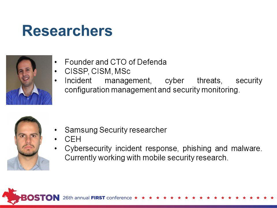 Founder and CTO of Defenda CISSP, CISM, MSc Incident management, cyber threats, security configuration management and security monitoring. Samsung Sec