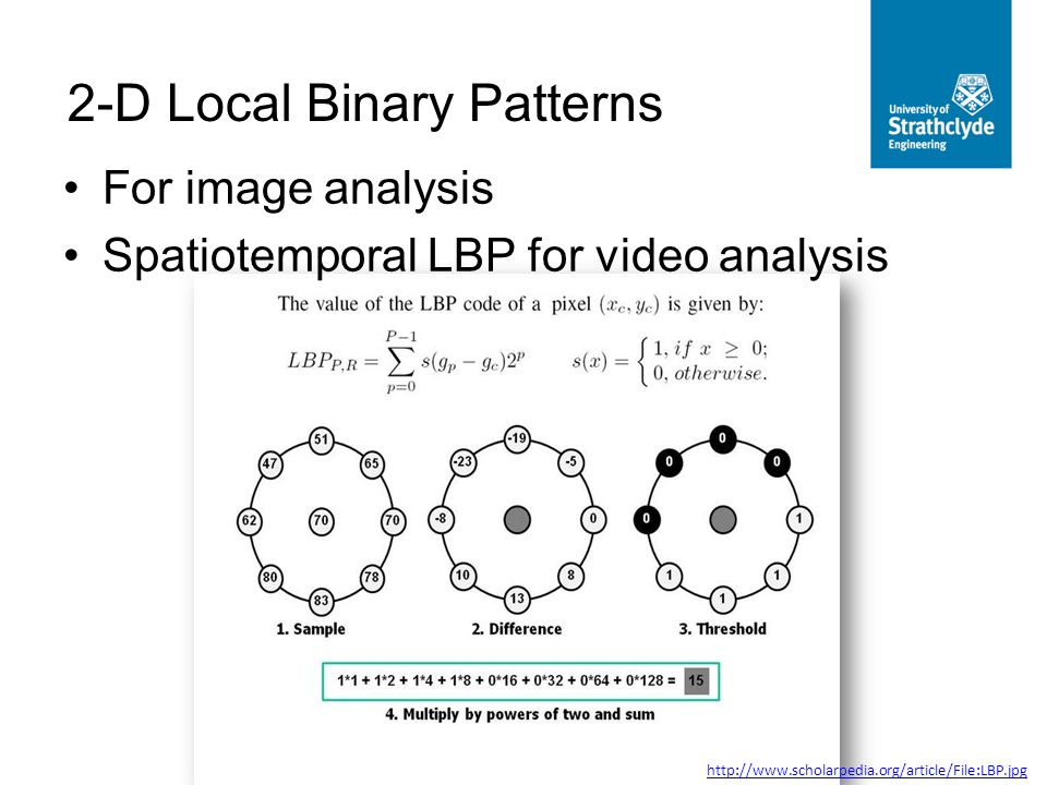 For image analysis Spatiotemporal LBP for video analysis 2-D Local Binary Patterns http://www.scholarpedia.org/article/File:LBP.jpg