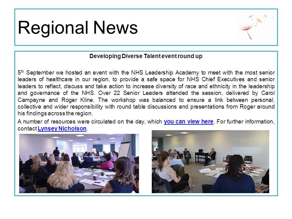 Regional News Invitation to Senior Leaders to join Accelerate discussion The Accelerate programme progresses the leadership journey and careers of junior to mid- level leaders, with a focus on inclusive leadership skills and values to benefit participants, their colleagues and patients and service users.