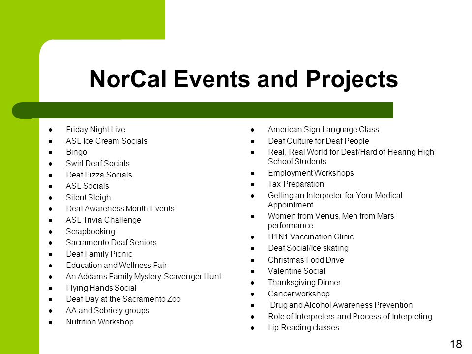 NorCal Events and Projects Friday Night Live ASL Ice Cream Socials Bingo Swirl Deaf Socials Deaf Pizza Socials ASL Socials Silent Sleigh Deaf Awareness Month Events ASL Trivia Challenge Scrapbooking Sacramento Deaf Seniors Deaf Family Picnic Education and Wellness Fair An Addams Family Mystery Scavenger Hunt Flying Hands Social Deaf Day at the Sacramento Zoo AA and Sobriety groups Nutrition Workshop American Sign Language Class Deaf Culture for Deaf People Real, Real World for Deaf/Hard of Hearing High School Students Employment Workshops Tax Preparation Getting an Interpreter for Your Medical Appointment Women from Venus, Men from Mars performance H1N1 Vaccination Clinic Deaf Social/Ice skating Christmas Food Drive Valentine Social Thanksgiving Dinner Cancer workshop Drug and Alcohol Awareness Prevention Role of Interpreters and Process of Interpreting Lip Reading classes 18
