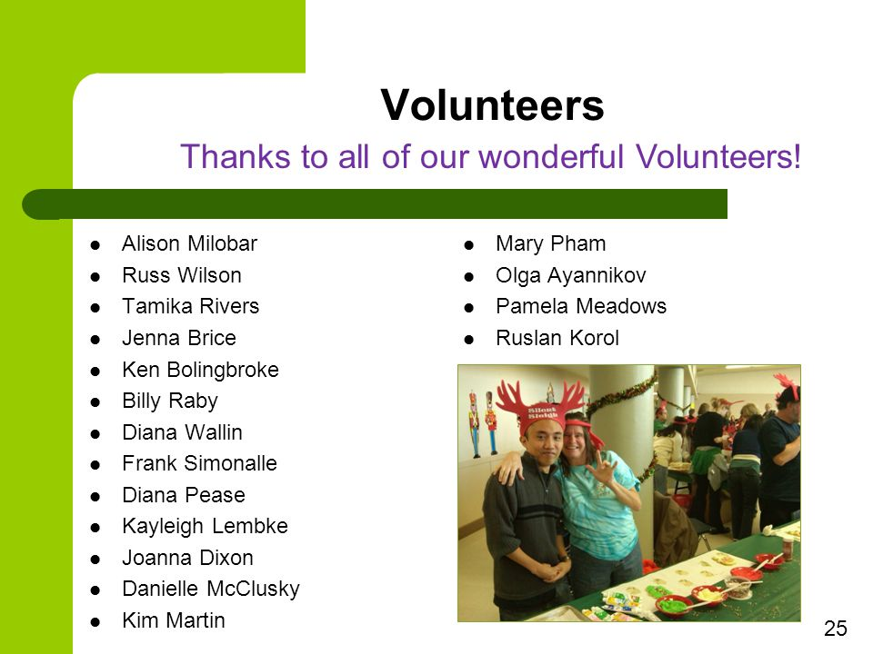 Volunteers Alison Milobar Russ Wilson Tamika Rivers Jenna Brice Ken Bolingbroke Billy Raby Diana Wallin Frank Simonalle Diana Pease Kayleigh Lembke Joanna Dixon Danielle McClusky Kim Martin Mary Pham Olga Ayannikov Pamela Meadows Ruslan Korol 25 Thanks to all of our wonderful Volunteers!
