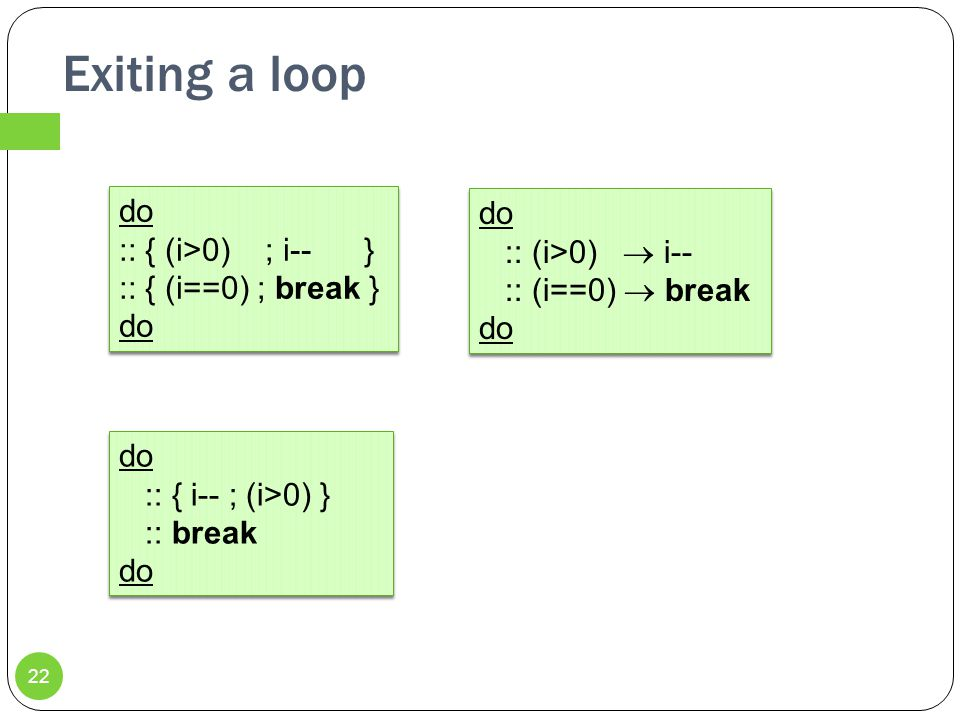 Exiting a loop do :: (i>0)  i-- :: (i==0)  break do do :: { (i>0) ; i-- } :: { (i==0) ; break } do 22 do :: { i-- ; (i>0) } :: break do