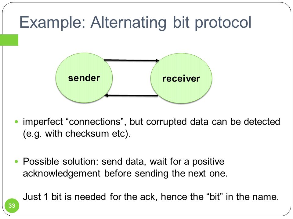 Example: Alternating bit protocol imperfect connections , but corrupted data can be detected (e.g.
