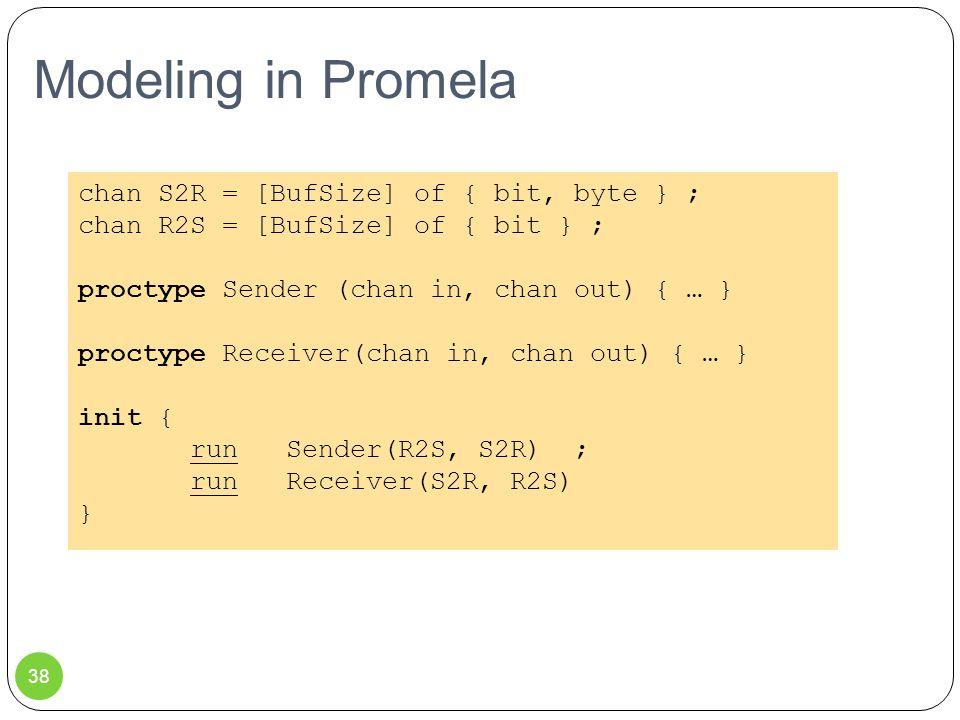 Modeling in Promela 38 chan S2R = [BufSize] of { bit, byte } ; chan R2S = [BufSize] of { bit } ; proctype Sender (chan in, chan out) { … } proctype Receiver(chan in, chan out) { … } init { run Sender(R2S, S2R) ; run Receiver(S2R, R2S) }