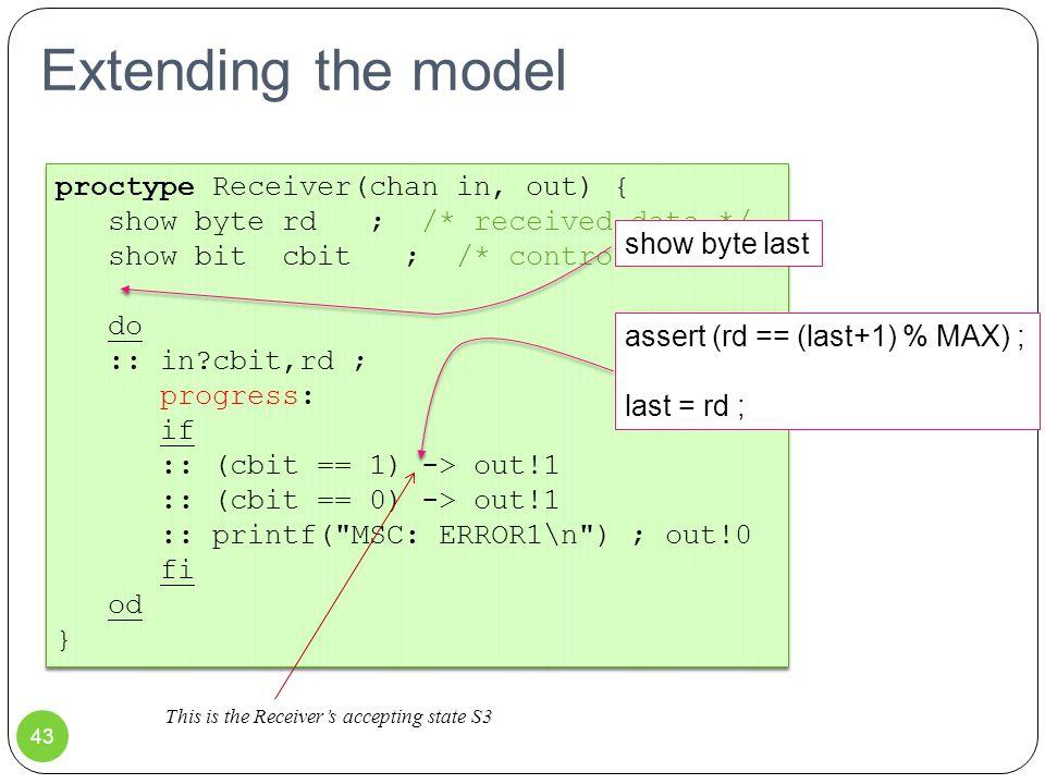 Extending the model proctype Receiver(chan in, out) { show byte rd ; /* received data */ show bit cbit ; /* control bit */ do :: in?cbit,rd ; progress