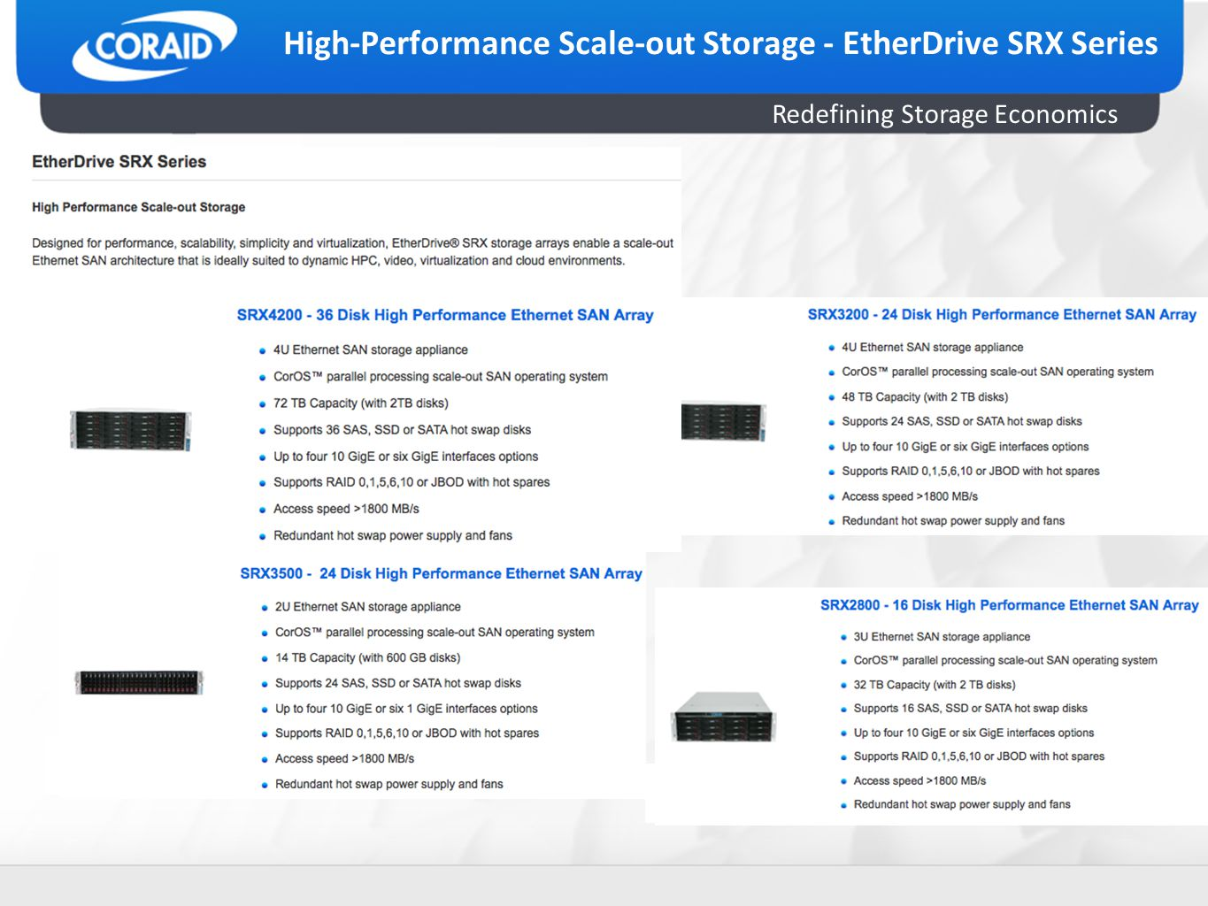 Redefining Storage Economics High-Performance Scale-out Storage - EtherDrive SRX Series