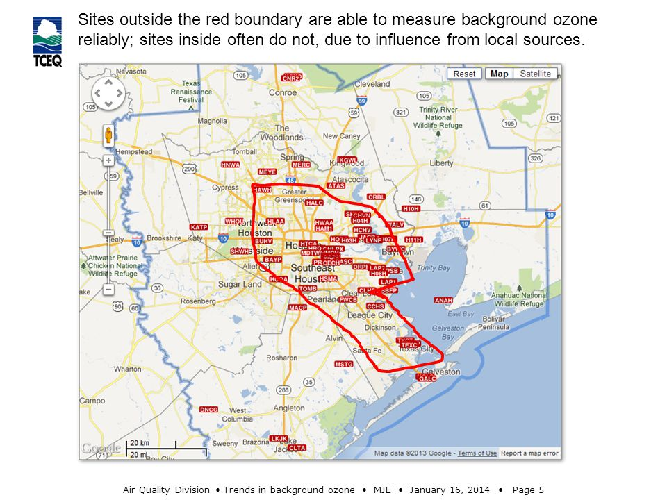 Air Quality Division Trends in background ozone MJE January 16, 2014 Page 5 Sites outside the red boundary are able to measure background ozone reliably; sites inside often do not, due to influence from local sources.