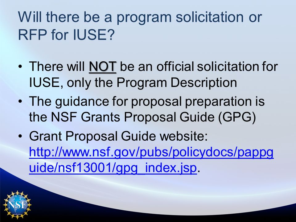 Will there be a program solicitation or RFP for IUSE.