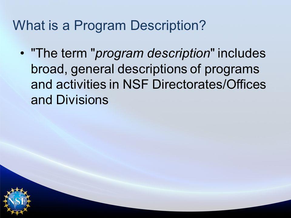 What is a Program Description.