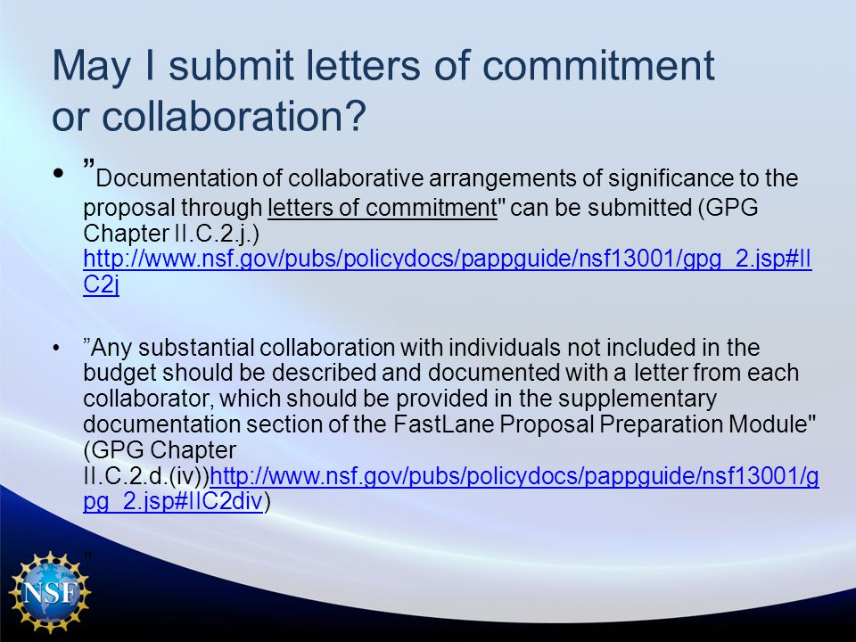 May I submit letters of commitment or collaboration.