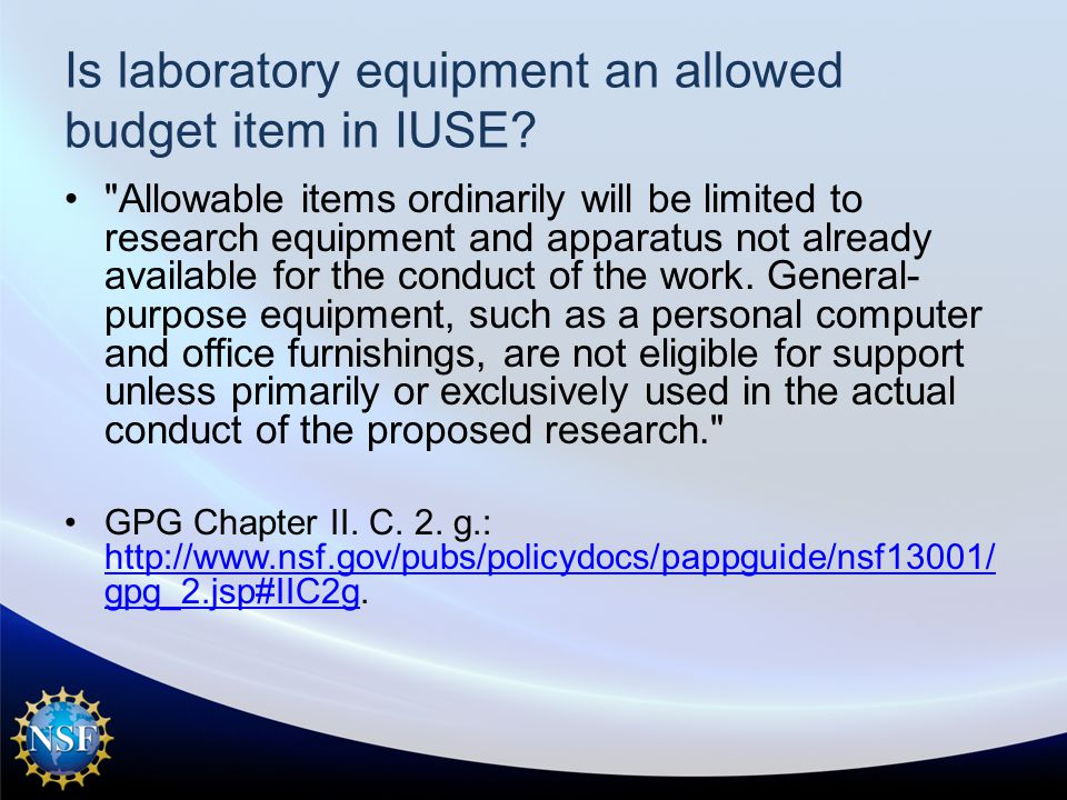Is laboratory equipment an allowed budget item in IUSE.