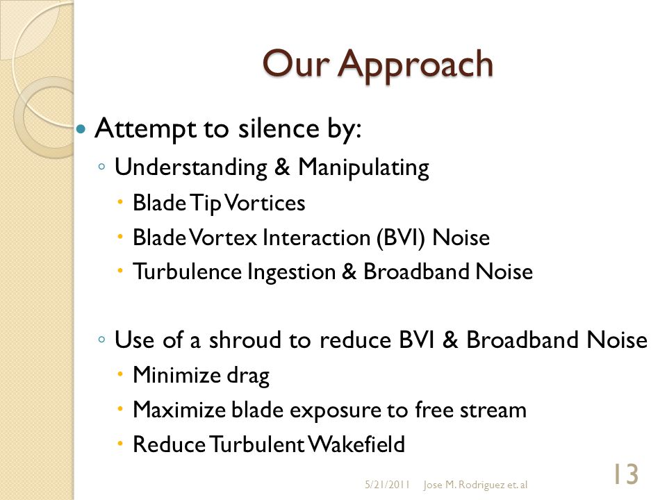 Our Approach Attempt to silence by: ◦ Understanding & Manipulating  Blade Tip Vortices  Blade Vortex Interaction (BVI) Noise  Turbulence Ingestion