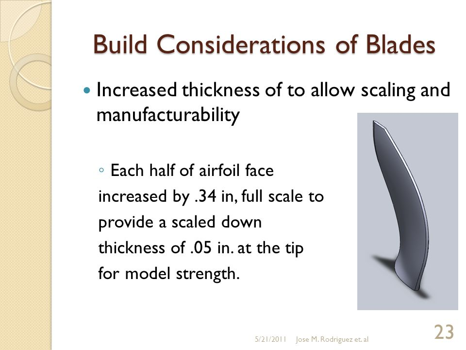 Increased thickness of to allow scaling and manufacturability ◦ Each half of airfoil face increased by.34 in, full scale to provide a scaled down thic