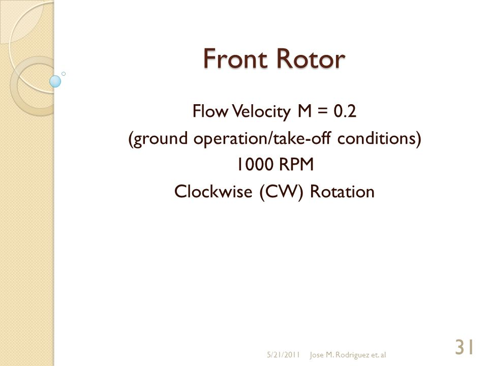 Front Rotor Flow Velocity M = 0.2 (ground operation/take-off conditions) 1000 RPM Clockwise (CW) Rotation 5/21/2011 31 Jose M.