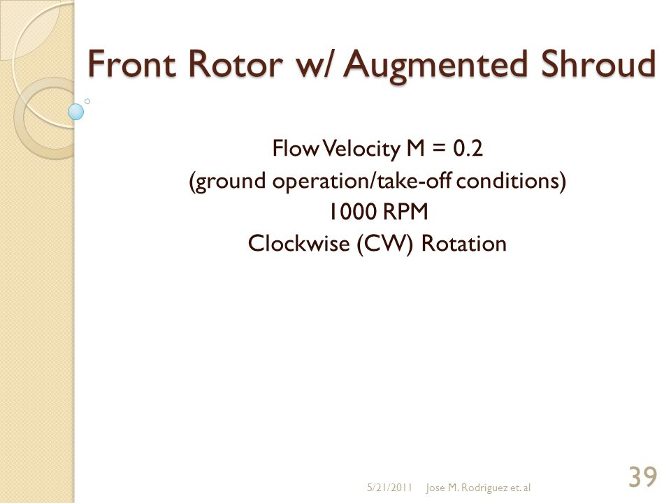 Front Rotor w/ Augmented Shroud Flow Velocity M = 0.2 (ground operation/take-off conditions) 1000 RPM Clockwise (CW) Rotation 5/21/2011 39 Jose M. Rod