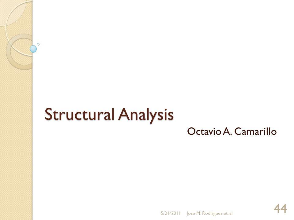 Structural Analysis Octavio A. Camarillo 5/21/2011Jose M. Rodriguez et. al 44