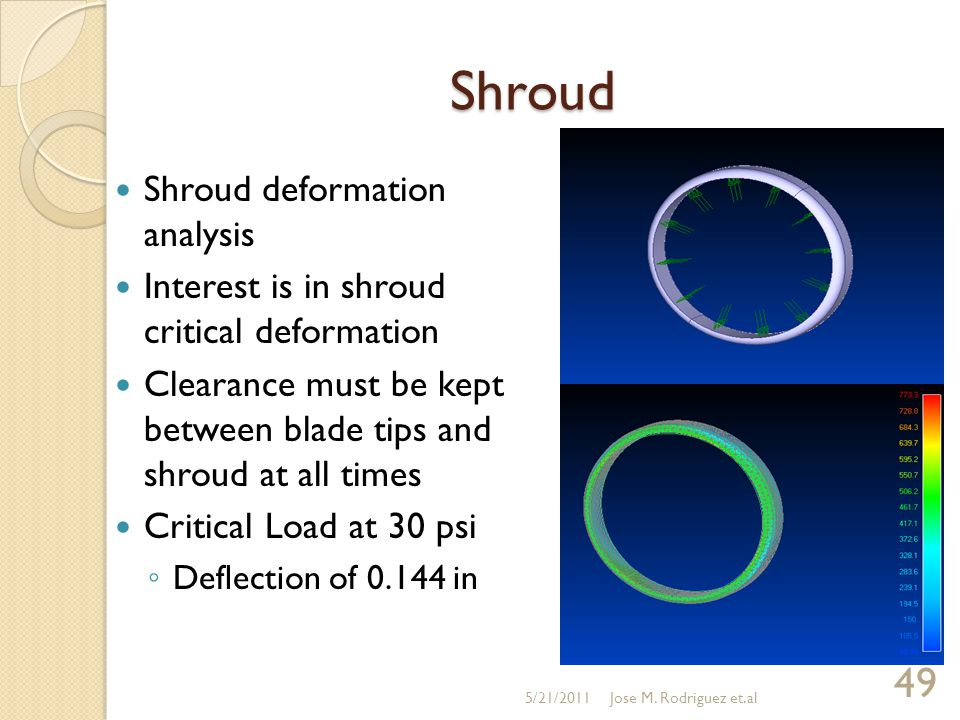 Shroud Shroud deformation analysis Interest is in shroud critical deformation Clearance must be kept between blade tips and shroud at all times Critical Load at 30 psi ◦ Deflection of 0.144 in 5/21/2011 49 Jose M.