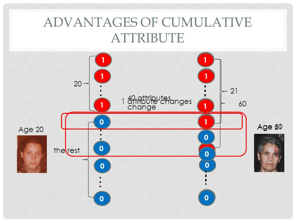 ADVANTAGES OF CUMULATIVE ATTRIBUTE Age 20 1 1 0 1 … 20 0 … 0 the rest Age 60 1 1 1 … 60 0 … 0 1 0 … 1 … 1 attribute changes 1 1 … 21 0 … 0 1 1 0 40 at