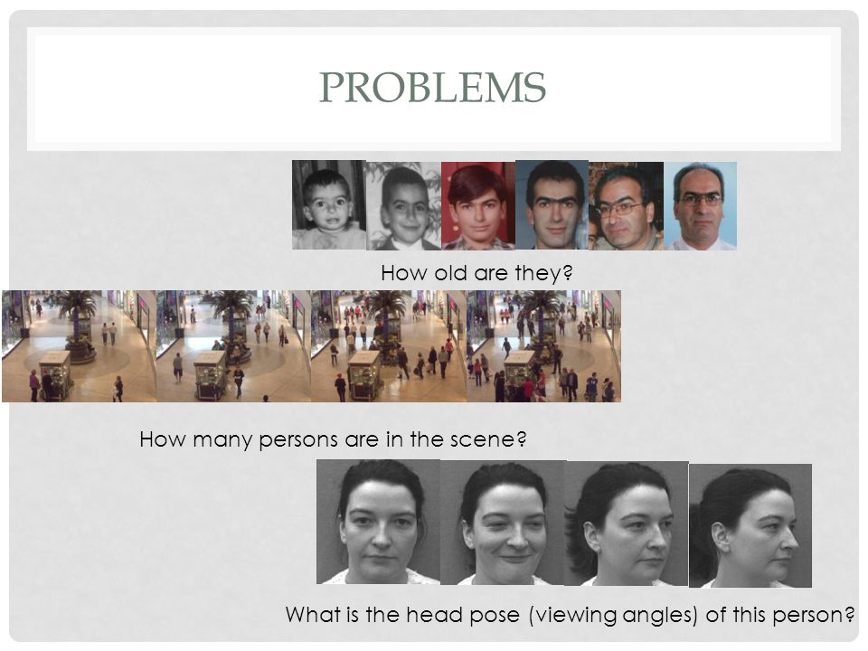 PROBLEMS How old are they? How many persons are in the scene? What is the head pose (viewing angles) of this person?