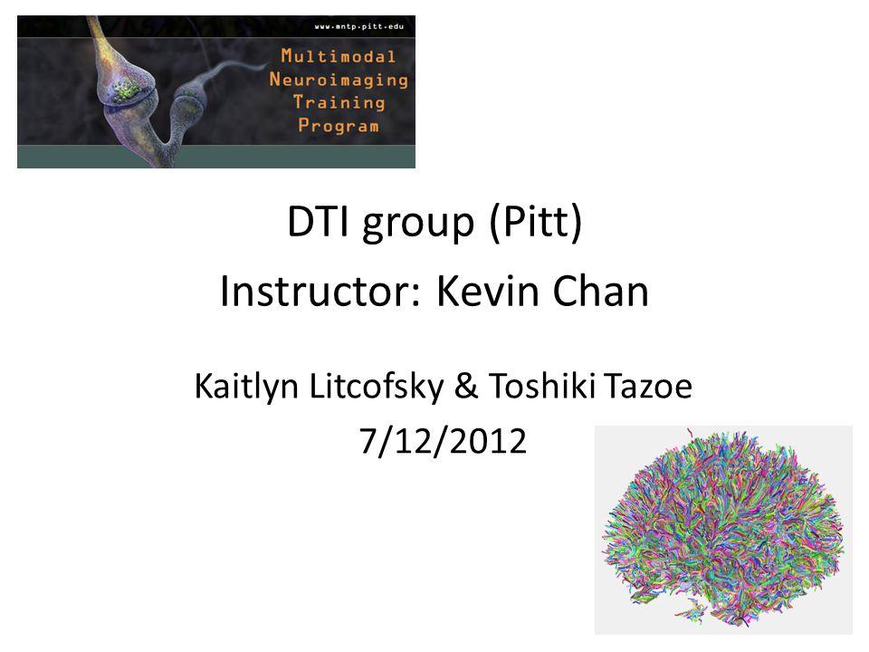 DTI group (Pitt) Instructor: Kevin Chan Kaitlyn Litcofsky & Toshiki Tazoe 7/12/2012