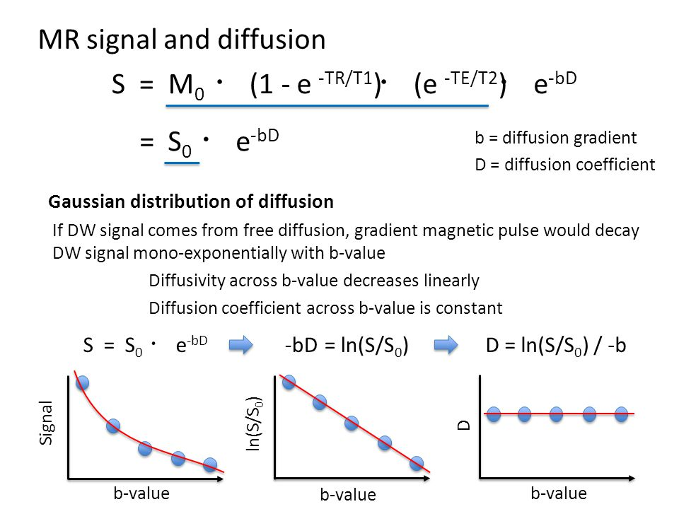MR signal and diffusion S = M 0 ・ e -bD b = diffusion gradient D = diffusion coefficient = S 0 ・ e -bD ・ (1 - e -TR/T1 ) ・ (e -TE/T2 ) Gaussian distribution of diffusion b-value Signal S = S 0 ・ e -bD -bD = ln(S/S 0 )D = ln(S/S 0 ) / -b If DW signal comes from free diffusion, gradient magnetic pulse would decay DW signal mono-exponentially with b-value Diffusivity across b-value decreases linearly Diffusion coefficient across b-value is constant ln(S/S 0 ) D b-value