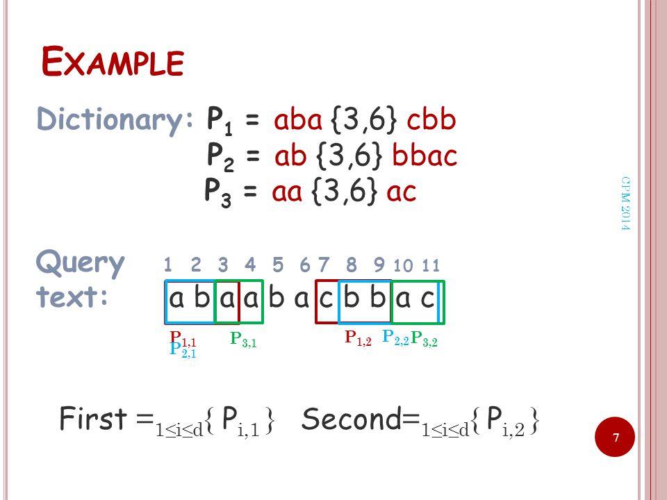 7 E XAMPLE Dictionary: P 1 = aba {3,6} cbb P 2 = ab {3,6} bbac P 3 = aa {3,6} ac Query 1 2 3 4 5 6 7 8 9 10 11 text: a b a a b a c b b a c P 1,1 P 1,2