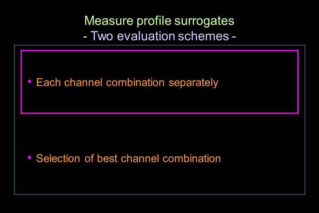 Measure profile surrogates - Two evaluation schemes - Each channel combination separately Selection of best channel combination