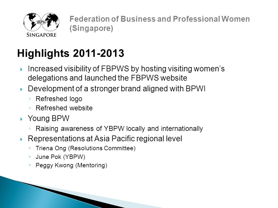 Federation of Business and Professional Women (Singapore)  Increased visibility of FBPWS by hosting visiting women's delegations and launched the FBPWS website  Development of a stronger brand aligned with BPWI ◦ Refreshed logo ◦ Refreshed website  Young BPW ◦ Raising awareness of YBPW locally and internationally  Representations at Asia Pacific regional level ◦ Triena Ong (Resolutions Committee) ◦ June Pok (YBPW) ◦ Peggy Kwong (Mentoring) Highlights 2011-2013