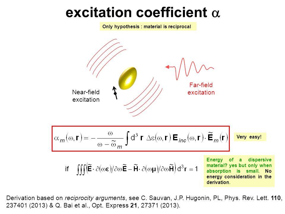 excitation coefficient  Far-field excitation Near-field excitation Derivation based on reciprocity arguments, see C. Sauvan, J.P. Hugonin, PL, Phys.