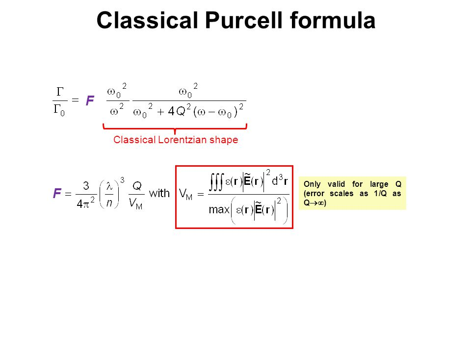 Classical Lorentzian shape F F Classical Purcell formula Only valid for large Q (error scales as 1/Q as Q  )
