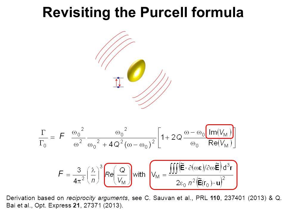 F Revisiting the Purcell formula F Derivation based on reciprocity arguments, see C. Sauvan et al., PRL 110, 237401 (2013) & Q. Bai et al., Opt. Expre