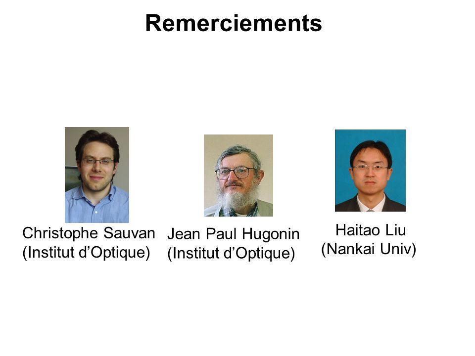 Jean Paul Hugonin (Institut d'Optique) Remerciements Haitao Liu (Nankai Univ) Christophe Sauvan (Institut d'Optique)