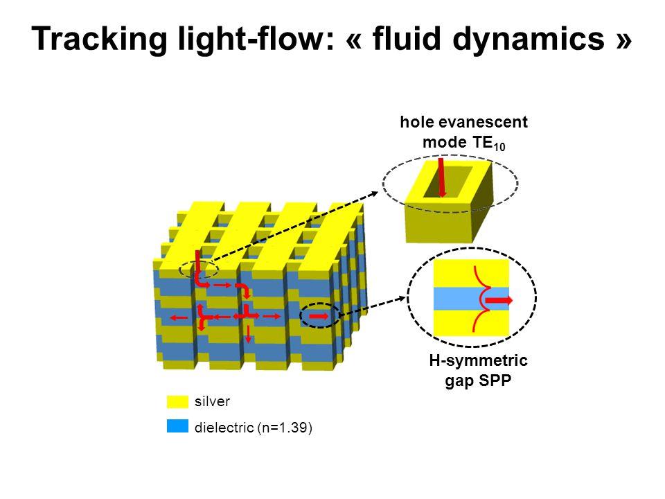 hole evanescent mode TE 10 H-symmetric gap SPP Tracking light-flow: « fluid dynamics » silver dielectric (n=1.39)