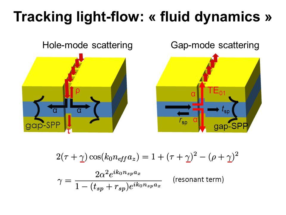 α α t sp r sp TE 01 gap-SPP ρ α α τ (resonant term) Hole-mode scatteringGap-mode scattering Tracking light-flow: « fluid dynamics »