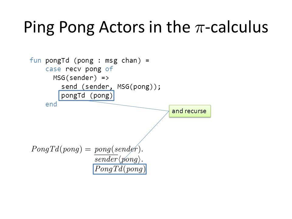 fun pongTd (pong : msg chan) = case recv pong of MSG(sender) => send (sender, MSG(pong)); pongTd (pong) end Ping Pong Actors in the ¼ -calculus and recurse