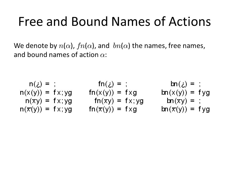 Free and Bound Names of Actions We denote by n ( ® ), fn ( ® ), and bn ( ® ) the names, free names, and bound names of action ® :