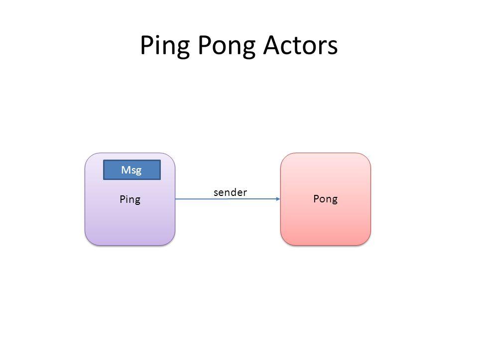 Ping Pong sender Msg Ping Pong Actors