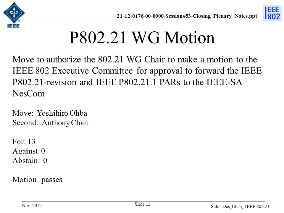 21-12-0176-00-0000-Session#53-Closing_Plenary_Notes.ppt Slide 11 P802.21 WG Motion Move to authorize the 802.21 WG Chair to make a motion to the IEEE 802 Executive Committee for approval to forward the IEEE P802.21-revision and IEEE P802.21.1 PARs to the IEEE-SA NesCom Move: Yoshihiro Ohba Second: Anthony Chan For: 13 Against: 0 Abstain: 0 Motion passes Subir Das, Chair, IEEE 802.21 Nov 2012