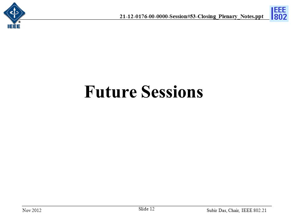 21-12-0176-00-0000-Session#53-Closing_Plenary_Notes.ppt Future Sessions Subir Das, Chair, IEEE 802.21Nov 2012 Slide 12